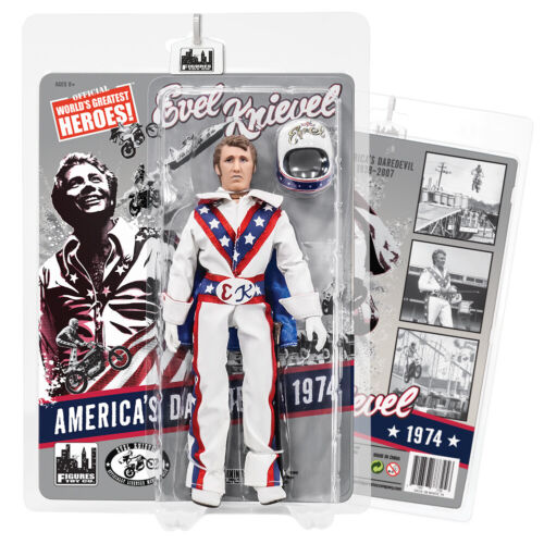 White Jumpsuit Evel Knievel 8 Inch Action Figures Series 1 Re-Issue