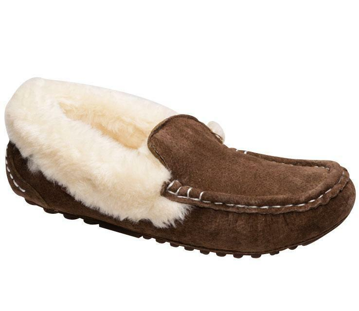 Women's Slippers Lamo Suede Fleece Lining NEW Comfy Sizes 6 7 8 9 10 11