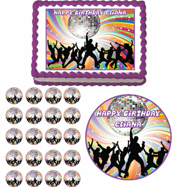 Disco Dance 70s Hip Hop Edible Birthday Cake Cupcake Toppers Party Decorations