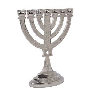 Silver-Plated-Menorah-7-Branched-w-Star-of-David-amp-Jewish-Ornament-Gift-3-8-inch