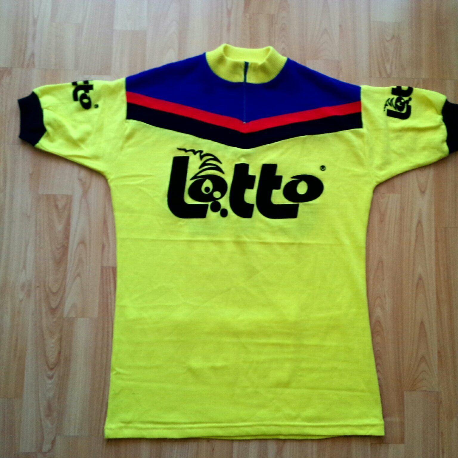 Vintage 70s Belgian Lotto Cycling Shirt Mens EL Gelb Flock Print ULTRA RARE