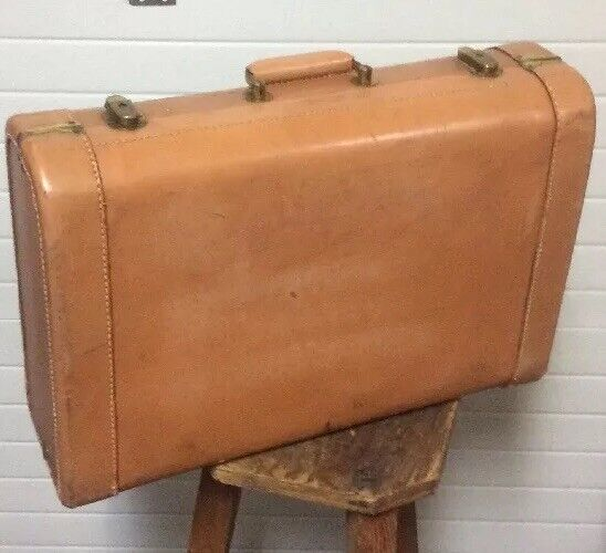 Vintage Pioneer Light marron Leather Hard Suitcase 21  X 15  X 6