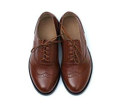 US Size 4-11 Vintage Leather Brogues Lace Up Dress Oxford Womens Wingtip Shoes
