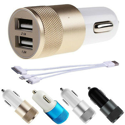 Dual 2.1A+1A 2 Port USB Car Charger Adapter Cable For iPhone 4 5 6 7 Samsung HTC
