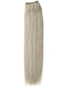 DOUBLE-WEFT-Silver-Human-Hair-Extension-Weft-Full-Head