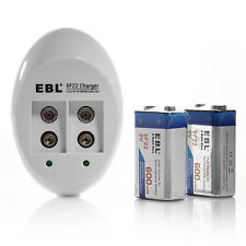 EBL 6F22 9V 600mAh Li-ion Rechargeable Battery (2 Pack) + 9 Volt Charger