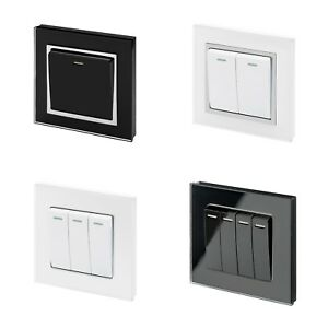 RetroTouch Black White Glass On Off Rocker Mechanical Light Switch 1 ...
