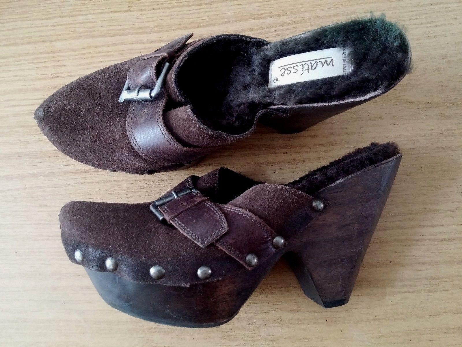 Damen Schuhe Sandalen braun MATISSE Gr 41 braun Sandalen Leder Fell Holz b80318