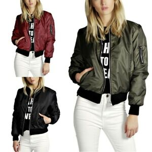 Women-039-s-Classic-Casual-Bomber-Jacket-Vintage-Zip-Up-Biker-Outerwear-Coat-Jacket