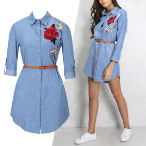 85df185961 New Women s Embroidery Flower Denim Jeans With Belt Mini Shirt Wrap ...
