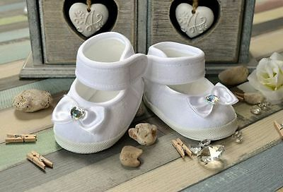 Ts26 ♥ Taufschuhe Ballerina Babyschuhe Weiss Taufe Strass Herz Neu Terrific Value Clothing, Shoes & Accessories Baby & Toddler Clothing