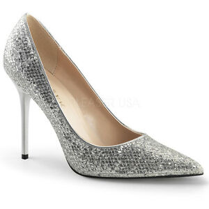 PLEASER Sexy Shoes Pointed Toe Silver Glitter Lame 4