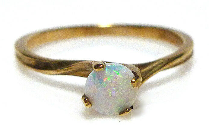 14K YELLOW gold OPAL SOLITAIRE ANTIQUE OLD ESTATE SIGNED ESTATE RING SIZE 5.75
