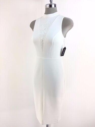 GUESS New WT Beautiful Ivory Sequined Scuba Midi Sheath Dress 2 4 10 12 14