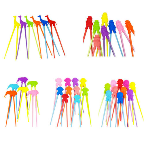 5X 1 Pair Chopsticks For Sushi Baby Kids Cartoon Food Sticks Easy Use Fun L X4Z4
