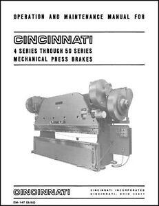 cincinnati 4 through 50 series press brake manual ebay rh ebay com Press Brake Parts List Hydraulic Press Brake Circuit