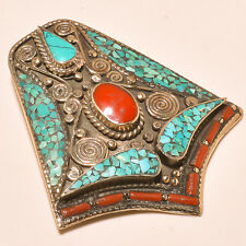 Turquoise With Red Coral Antique Look Tibetan Silver Jewelry Pendant S-7 CM