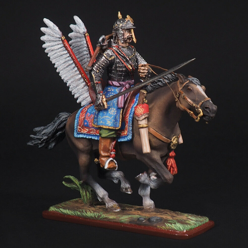 Tin soldier, Ranked Polish winged hussars with crossbow, 54 mm