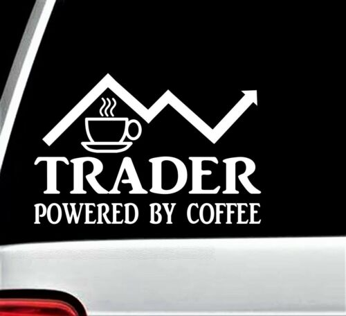 Trader Powered By Coffee Decal Sticker for Car Window BG 175 Stock Market Invest