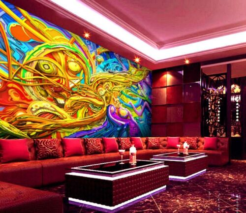 3D Blue Gold Lines Graffiti Wall Paper Wall Print Decal Wall Deco AJ WALLPAPER
