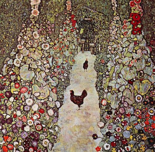 """Garden Path with Chickens  by Gustav Klimt  20/""""x20/"""" Canvas Art Print"""