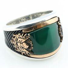 925 Sterling Silver Green Agate Stone  Men's Ring -US Seller-All Sizes 9-12 K6Q