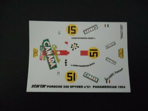 Decal Porsche 550 spyder ''Canada'' n°51 Panamericana 54 starter 1//43°