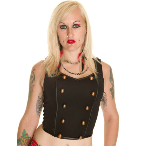 Size XS LARGE Gothic alternative HELL BUNNY LARS TOP MILITARY BRASS BUTTON