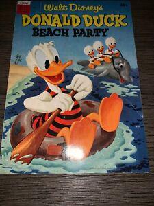 Walt-Disney-039-s-DONALD-DUCK-BEACH-PARTY-1-in-FN-1954-DELL-giant-Golden-Age-comic