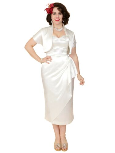50s Wedding Dress, 1950s Style Wedding Dresses, Rockabilly Weddings    Sarong White Satin Dress Bolero 1950s Pin Up Wedding Retro Vintage Prom Swing £120.00 AT vintagedancer.com