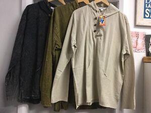 New-Mens-Size-Large-Stonewash-cotton-L-Sleeve-Boho-Hippie-Hooded-Jacket