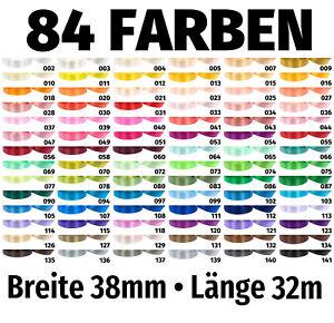 32m x 38mm Satinband Schleife Band Dekoband Geschenkband Deko 84 Farben zur Wahl