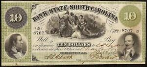 1861-10-DOLLAR-CHARLEST-SOUTH-CAROLINA-BANK-NOTE-LARGE-CURRENCY-OLD-PAPER-MONEY