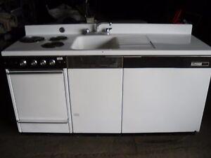 Image Is Loading Dwyer Vintage Kitchen Kitchenette  Stove Sink Refrigerator Porcelain