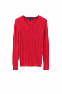 New-Crew-Clothing-Womens-Cotton-Cable-V-Neck-Jumper-in-Red