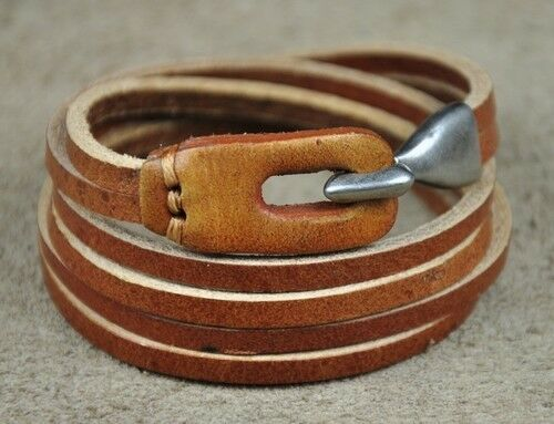 P01 Men/'s Cool double bande multi Wrap Cuir Bracelet Bracelet orangebrown