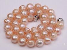 11-12mm rosa Süßwasser Perle Halskette,Magnet Schließe