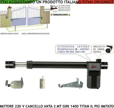 Cancello Elettrico Motore Destro 220 V 1400 Giri Corsa 300 Mm Anta 2 Mt Sblocco Beneficiale Per Lo Sperma