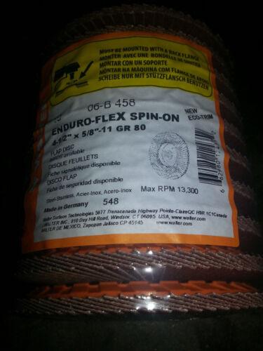 Walter 06B458 Enduro Flex Flap Disc 4-1//2 x 5//8-11 Threaded Arbor 80 Grit Qty 10