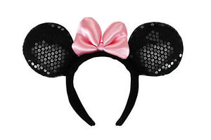 DISNEY-MINNIE-MOUSE-EARS-HEADBAND-WITH-PINK-BOW-Licensed-Costume-Mickey