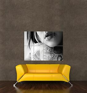 POSTER PRINT   CLOSE UP MODEL TATTOO TATTOOED BODY PIERCING LIPS MOUTH SEB976