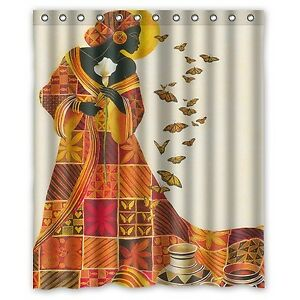 Image Is Loading Custom Waterproof Bathroom African Woman Shower Curtain Polyester
