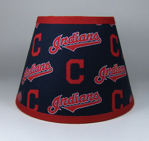 Cleveland indians mlb navy red fabric lamp shade lampshade handmade image is loading cleveland indians mlb navy red fabric lamp shade mozeypictures Choice Image