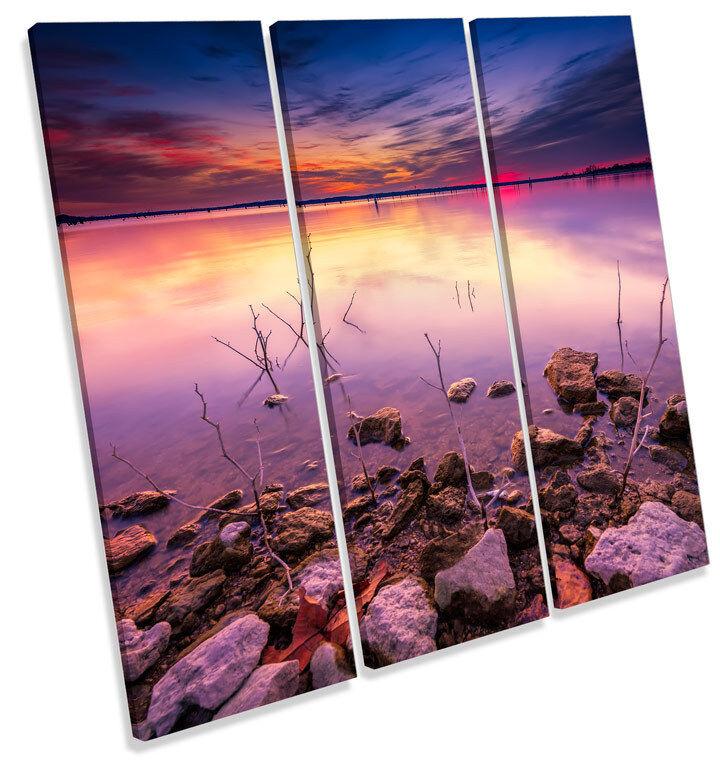 WINTER Sunset Lake TREBLE TELA parete parete parete arte foto stampa quadrato f08e07