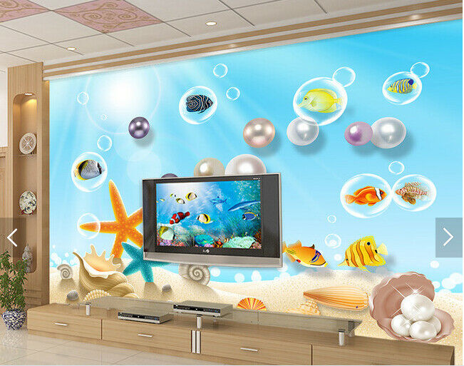 3D Pearls Beach 85  Wall Paper Murals Wall Print Wall Wallpaper Mural AU Lemon