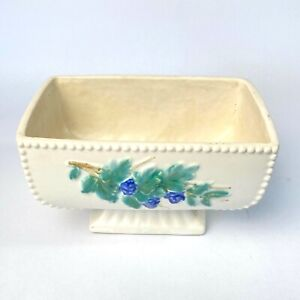 Vintage McCoy Pottery Curio Pattern Planter, White, Blue Grapes, Cream