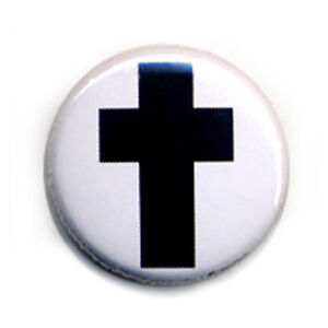 Button-Pin-Badge-BLACK-CROSS-death-metal-electro-punk-rock-Jesus-1inch-25mm