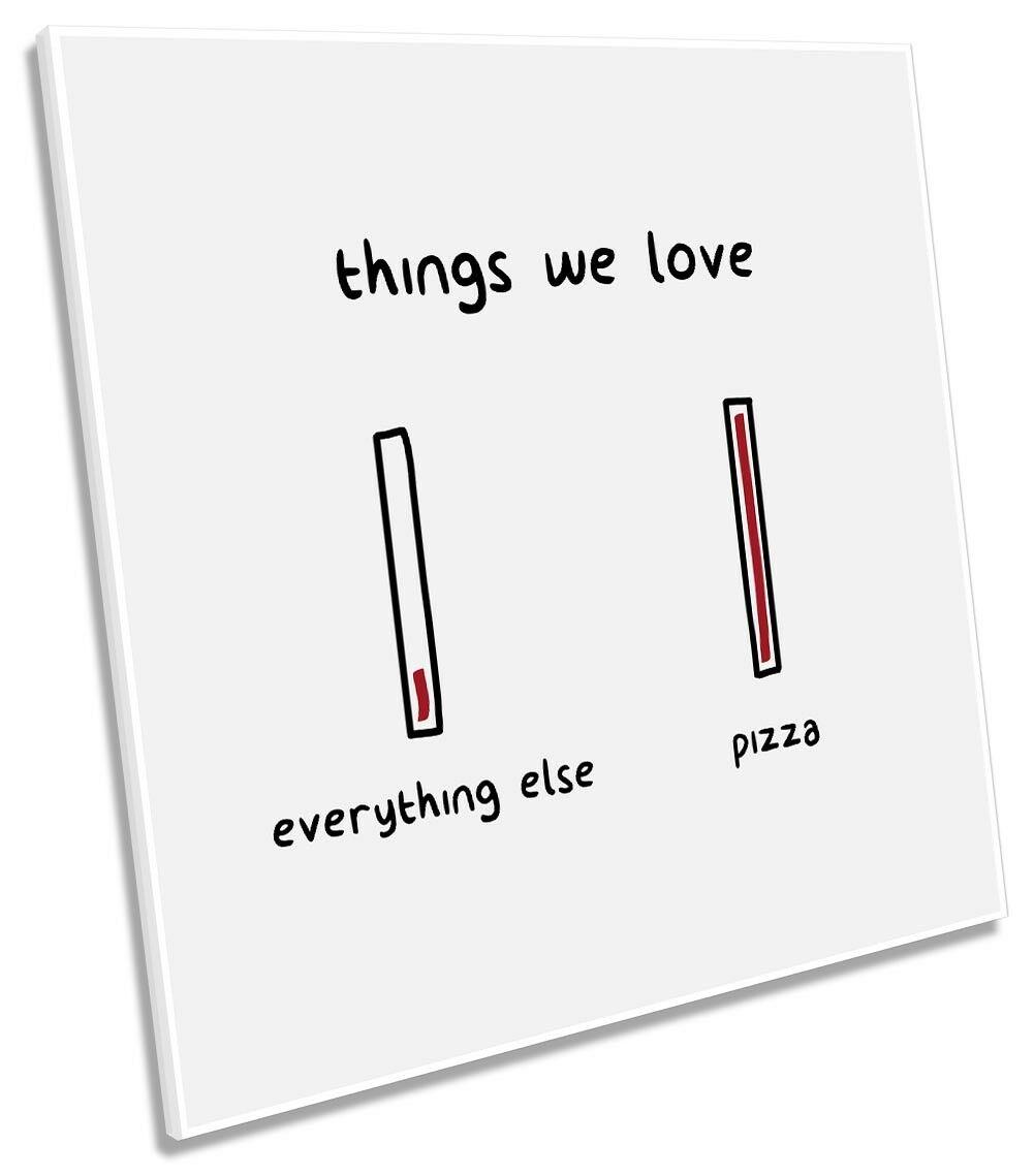 Things We Like Pizza Framed CANVAS PRINT Square Wall Art