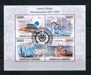 Z196-UNION-DES-COMORES-ANNO-INTERNAZIONALE-POLARE-PINGUINI-NAVI-ANIMALI-POLARI