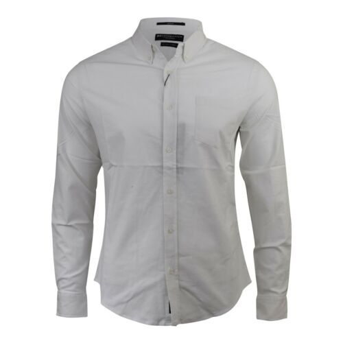 Mens Oxford Shirt Crosshatch Designer Cotton Long Sleeve Collared Top